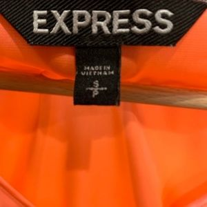 Express Tops - Express Orange Silky V-neck Rolled Sleeve Blouse